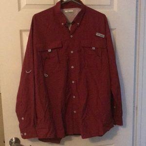Red Columbia Long Sleeve Shirt